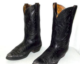 Mens 9 EE Cowboy Boots Nocona Black Leather Wide Width Distressed Biker Western
