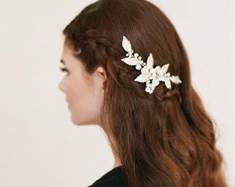 Gold Leaf Gilded Bridal Comb, Crystal Floral Bridal Comb, Wedding Hair Comb, Bridal Comb, Bridal Accessories, 1704
