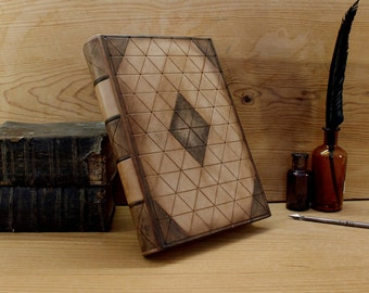"""Leather Journal / Blank Book, Natural Leather, Tooled Decoration - """"Wisdom"""""""