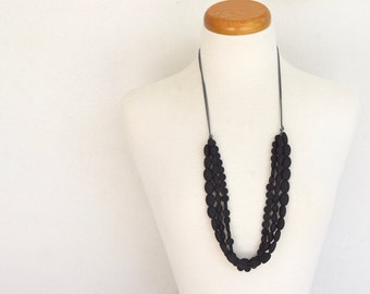 3 row resin bead necklace in solid midnight black featuring mixed shape selection on grey cotton cord for her adjustable triple strand