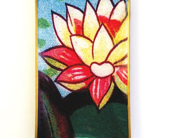 Waterlily decoupage glass catch-all tray