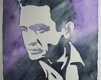 Johnny Cash Watercolor Painting