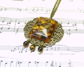 Amber Pendant Gift for Her Modern Jewelry Amber Resin Pendant Top Selling Jewelry for Women
