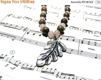 On Sale Rose Quartz Beaded Necklace Silver Leaf Jasper Necklace Pink Necklace Gift Ideas Leaf Pendant