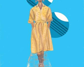 Fashion Illustration Black Girl Natural Girl 8x10