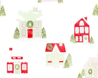 Christmas Holiday Fabric - Little Christmas Houses By Mintpeony -  Winter Xmas Watercolor Holiday Cotton Fabric By The Yard With Spoonflower