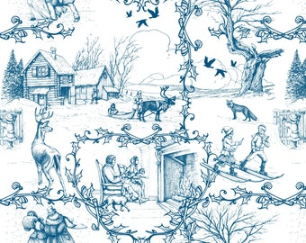 Blue Winter Toile Fabric - In The Heart Of Winter By Chicca Besso - Winter Woodland Blue Toile  Cotton Fabric By The Yard With Spoonflower