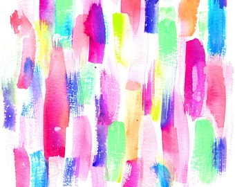Watercolor Abstract Paint Fabric - Deconstruced Rainbows By Erinanne - Rainbow Cotton Fabric By The Yard With Spoonflower