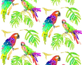 Watercolor Tropical Parrot Fabric - Parrots By Erinanne - Parrot Cotton Fabric By The Yard With Spoonflower
