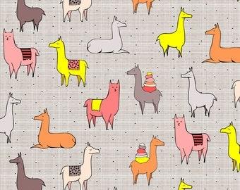 Grey Llama Alpaca Fabric - Ooh La Llama By Mrshervi - Llama Cotton Fabric By The Yard With Spoonflower