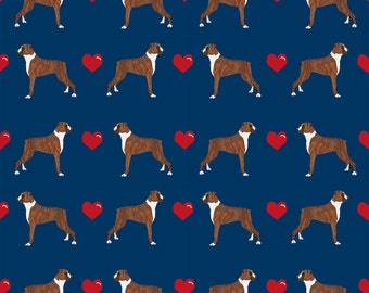 Navy Blue Boxer Dog Fabric - Boxers Love Fabric Cute Valentines Hearts  By Petfriendly - Cotton Fabric By The Yard With Spoonflower