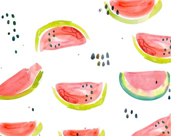 Cute Watermelon Fabric - Watermelon Slice Toss By Cest_La_Viv - Watercolor Summer Kitchen Cotton Fabric By The Yard With Spoonflower