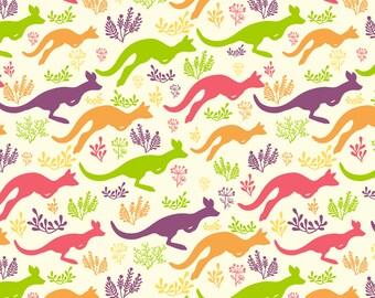 Kids Kangaroo Fabric - Jumping Kangaroos By Oksancia - Rainbow Animal Kid Nursery Decor Cotton Fabric By The Yard With Spoonflower