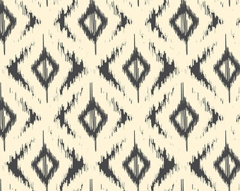 Ikat Fabric - Black And Cream Ikat Diamonds By Bohemiangypsyjane - Ikat Cotton Fabric By The Yard With Spoonflower