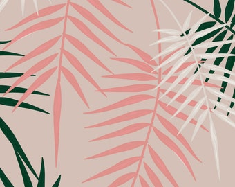 Pink Palms Fabric - Palm Springs - Pink By Lottiefrank - Summer Botanical Cotton Fabric By The Yard With Spoonflower