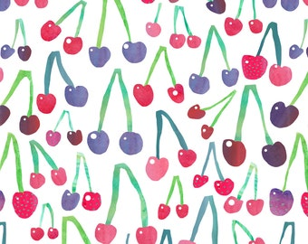 Cheeky Cherry Fabric - Cherries By Emmaallardsmith - Watercolor Summer Cherry Cotton Fabric By The Yard With Spoonflower
