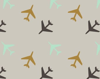 Neutral Airplanes Fabric - Airplanes Gray Background By Googoodoll - Planes Nursery Decor Cotton Fabric By The Yard With Spoonflower