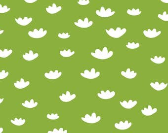 Greenery Fabric - Greenery Petals - Oh, Greenery! By Daniteal - Greenery Clouds Minimalist Cotton Fabric By The Yard With Spoonflower
