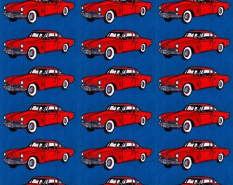 Classic Car Fabric - Red 1954 2 Door On Navy Background By Edsel2084 - Vintage Car Red Coupe Cotton Fabric By The Yard With Spoonflower