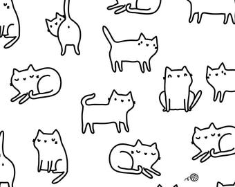 Cute Cats Fabric - Cute Kitty Cats Medium Scale By Kostolom3000 - Black and White Cat Doodles Cotton Fabric By The Yard With Spoonflower