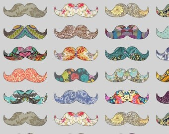 Patterned Mustache Fabric - Mustache Mania (Grey) By Biancagreen - Rainbow Mustache Cotton Fabric By The Yard With Spoonflower