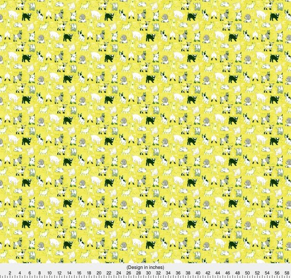Goat fabric baby goats by friztin yellow modern baby for Yellow nursery fabric