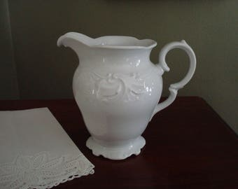 "Pretty, Delicately Embossed White China Water Pitcher, 6.5"" Tall, Small Water Pitcher, Savoir Vivre, S1000 Salzburg, Fine China, Poland"