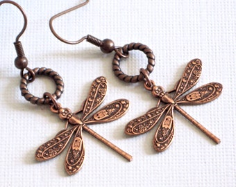 Copper Dragonfly Earrings - Dragonfly Jewelry, Nature Jewelry, Garden Jewelry