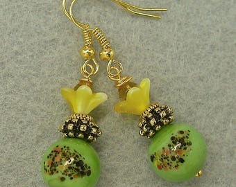 Vintage Japanese Millefiori Glass Bead Lime Green Black Flower Earrings, Vintage German Yellow Pressed Glass Flower Bead, Amber Crystal Bead