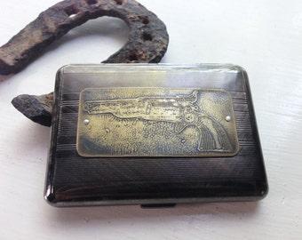 Colt Revolver Pistol Western Etched Wallet / Cigarette Case in Pinstripe -- Acid Bath Series