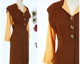 Vintage 1940s Dress - Striking Chocolate Brown Rayon Crepe Color Block 40s Day Dress in with Bold Marigold Yellow Sleeves