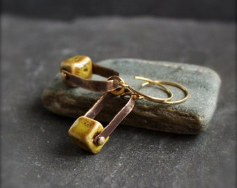 ON SALE Rustic Mustard Ceramic Cube Earrings - Oxidized Brass, Riveted Arch Dangle, Metalwork Jewellery