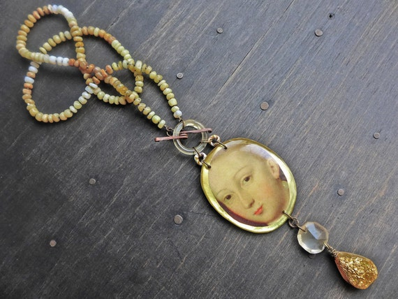 "Resin and honey opal necklace, rustic art jewelry by fancifuldevices, ""Smiling at Grief"""