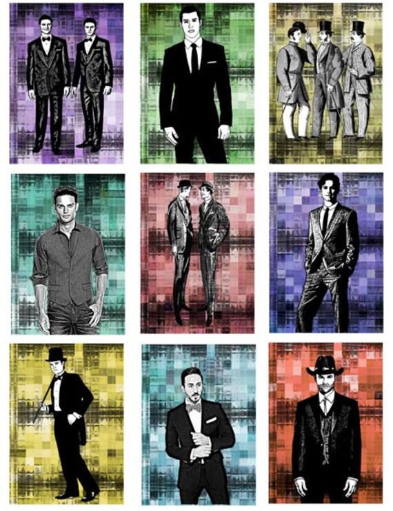"mens vintage modern fashion printable art illustrations clipart collage sheet digital download graphics images 2.5"" x 3.5"" craft printables"