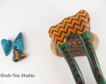 Hair Fork,Wood Hair Fork,Spectraply Wood Hairfork Mermaids Tail Grahtoe Hair Stick, Wood Hair Sticks,Gift for her,Hairforks,Chevrons