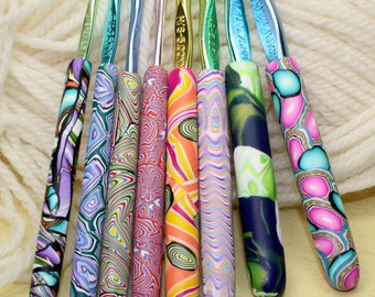 Polymer clay covered crochet hook set of 8, New Boye hook set, Sizes D/3 through K/10.5, handmade designs, ready to ship