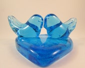 Vintage Blue Bird of Happiness Paperweight Glass Love Birds with Heart Handmade by Ron Ray 1992