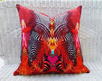 Psychedelic Pillows, Red Accent Pillow Covers, Digital Print Pillow Case, Funky Dorm Pillow, Eclectic, Unique Cool Pillow Decor 18x18 NEW