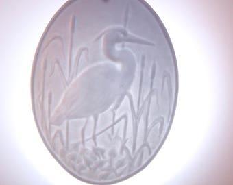 HANDMADE - HOUSEWARMING - Gift for Her - Spring - BLUE - Easter - crane - Blue Heron - bird art- ornament - light catcher - porcelain - blue
