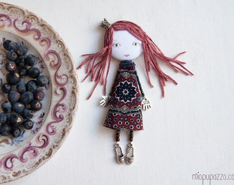 Young Princess, Art Doll Brooch Girl, mixed media collage, gift for her