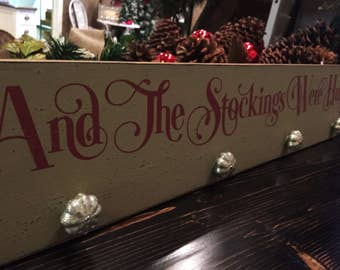 "Christmas stocking hanger, And the stockings were hung 7"" x 36"" wood sign, rustic Christmas stocking sign, stocking holder, Christmas decor"