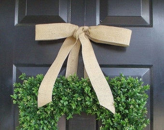 CHRISTMAS WREATH SALE Spring Wreath- Wedding Wreath- Artificial Boxwood Wreath with Burlap Bow- Square Wreath- Holiday Wreath Decor- 24 Inch