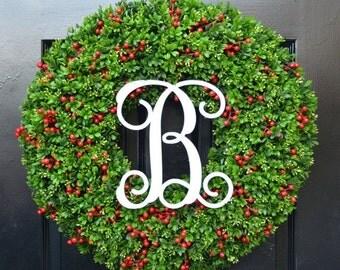 CHRISTMAS WREATH SALE Berry Boxwood Monogram Christmas Wreath- Holiday Monogram Wreath- Christmas Boxwood Wreath-Weatherproof Berry Winter W