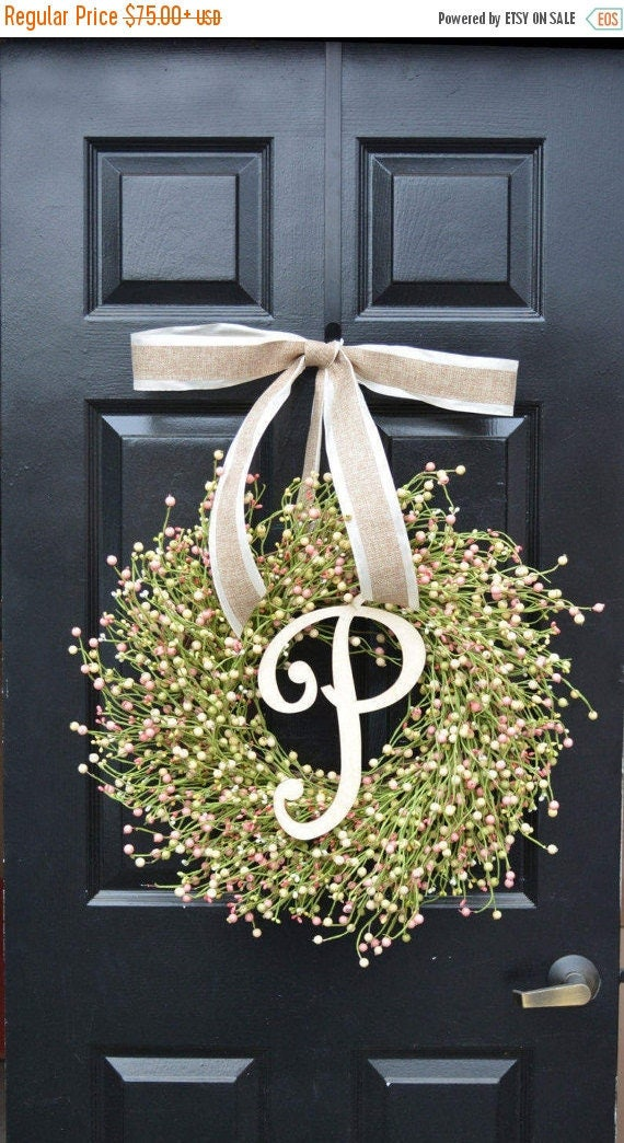 SPRING WREATH SALE Ready to Ship Spring Berry Wreath, Spring Decor, Spring Wreath, Easter Wreath Decor, Year Round Wreath, Pink, Green, Cre