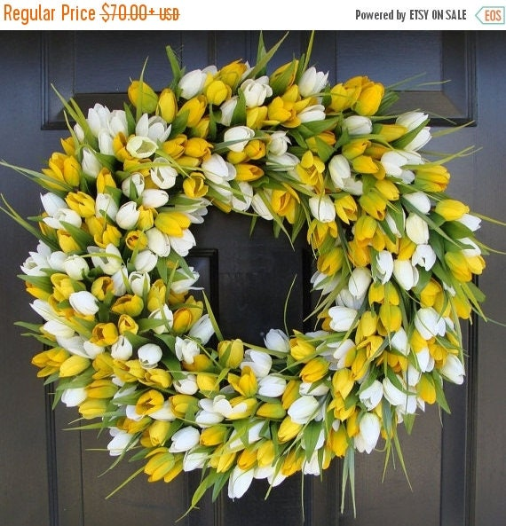 SPRING WREATH SALE Spring Wreath- Tulip Spring Wreath- Summer Wreath- Spring Sunshine- Spring Yellow Tulips Decoration- Easter Wreath Spring