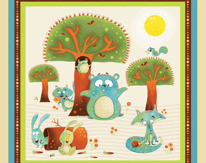 Children's Cotton Panel, Woodsy Wonders Cotton Panel 23.5 x 44 inches by Nidhi Wadhwa for Henry Glass