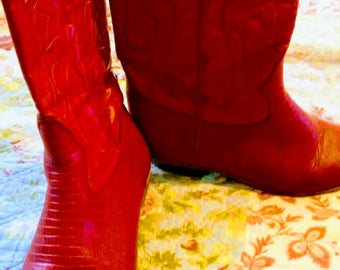 Red Vintage Leather Cowgirl Boots