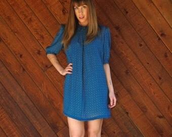 extra 30% off sale . . . Printed Blue Mini Secretary Dress - Vintage 70s 80s - MEDIUM Petite