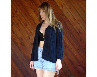 Navy Blue Cable Knit Cardigan - Vintage 90s - Medium Petite