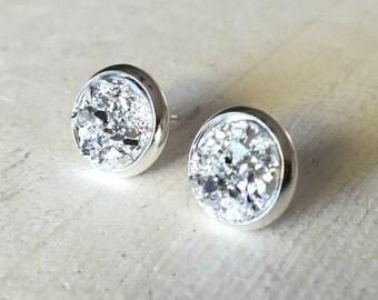 Silver Faux Druzy 10mm, Silver Stud Earring, Silver Druzy Cabochon, Gold Bezel Stud, Silver Stud Earrings, Glitter Stud Earrings